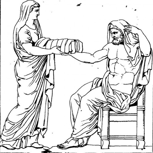 The mother goddess Rhea handing Kronos their youngest child that was just born.  Zeus!