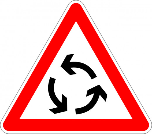 Please follow the arrows and drive safely.