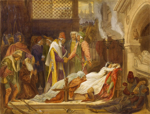 Frederic Leighton's 1854 watercolor The Reconciliation of the Montagues and Capulets