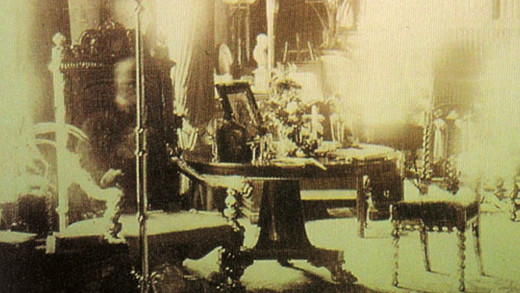 This photo was taken in Lord Combermere's home in 1881. At the same time as this photo was taken his funeral was taking place four miles away.