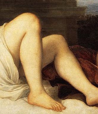 Titian, Danae (1544-1546) - detail, Naples Capodimonte Museum