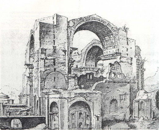 Saint Peter under construction, in an engraving of 1536