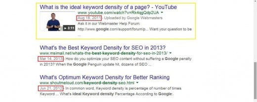 "A bit further down the first page for the previous search ""optimum keyword density google"", the results are even more dire. A YouTube video from 2011?"