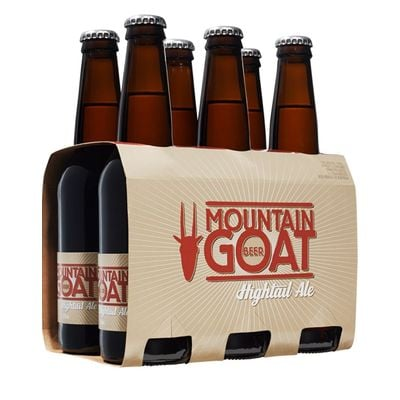 A six-pack of Mountain Goat Hightail Ail.