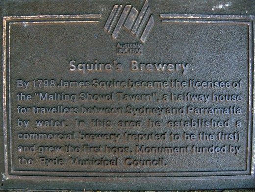 A plaque at Kissing Point, New South Wales commemorating James Squire and the location of his brewery.