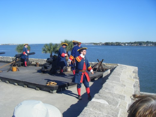 An historical reenactment at the Castillo de San Marcos.  The Spanish built fort is a fascinating and entertaining place to visit, and has an excellent view across the beautiful St Augustine Bay.