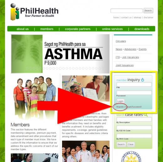PhilHealth website, Member Inquiry, Register