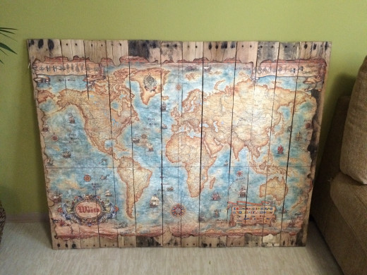 Finished Product of Map Art on Wood