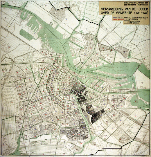 This map of Amsterdam shows the distribution of Jews in 1941. Every dot represents 10 Jews.