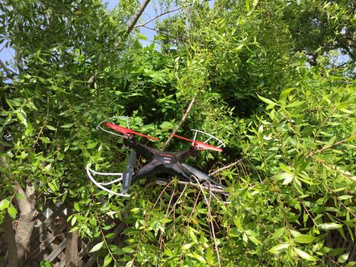 My Syma X5c Drone That Got Stuck Way Up In A Tree.
