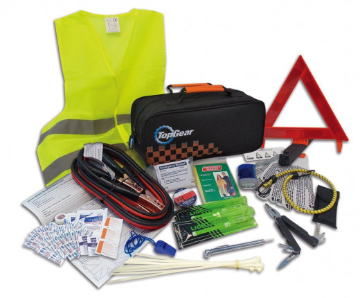 This 66 piece roadside assistance kit provides a range of items to help you in the event of a vehicle-related emergency.  The kit includes a high visibility reflective vest, a warning triangle, hand charged flashlight, all in one handy carrying case