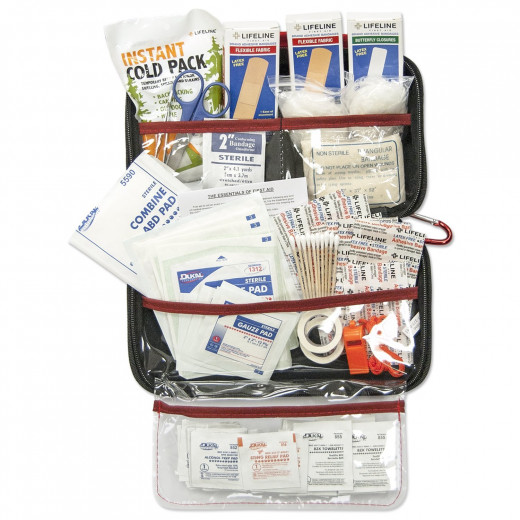 The AAA 121-Piece Road Trip First Aid Kit offers multiple injury solutions with a large variety of gauzes, bandages, dressings, adhesive tape, as well as instruments such as scissors, tweezers, and cotton tip applicators.