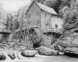 Facsimile of the grist mill where the Glenn brothers ground corn into cornmeal