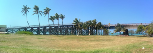 The Old Seven Mile Bridge, which was built from 1909 to 1912 under the instructions of the tycoon, Henry Flagler as part of the Florida East Coast Railway's Key West Extension.  The ramp on the left connects it to Pigeon Key.