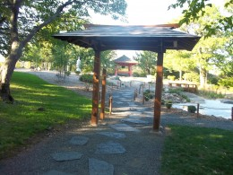 A covered structure in the Japanese Garden at Enger Tower.
