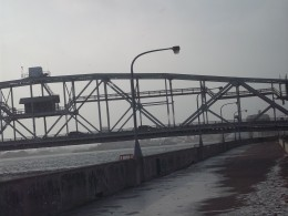 A closeup look at a bit of the center span of the Aerial Lift Bridge.