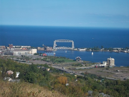 A distant view of the Aerial Lift Bridge on a summer day.
