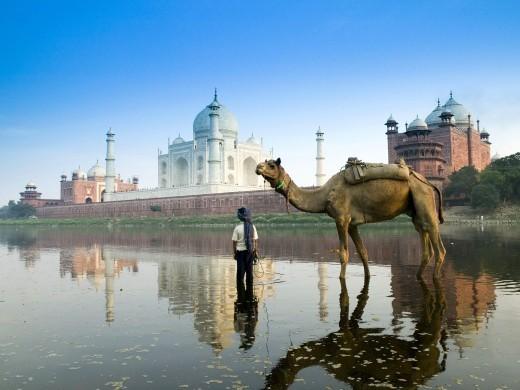 The Taj Mahal next to the Yamuna river