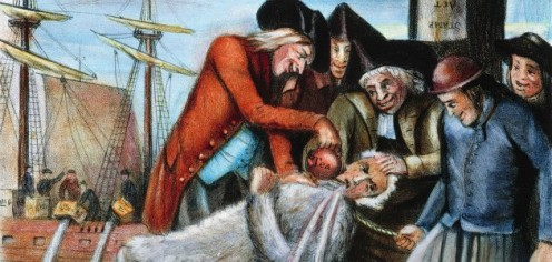 An artist's depiction of the tarring and feathering of loyalist John Malcom in Boston. (The Granger Collection, NYC)