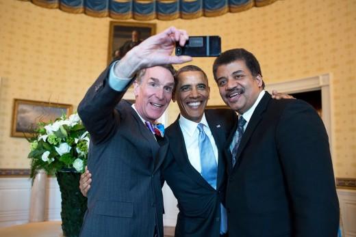 Bill Nye, Barack Obama and Neil deGrasse Tyson selfie