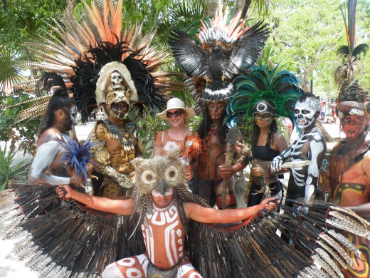 Dressed As Mayan Warriors