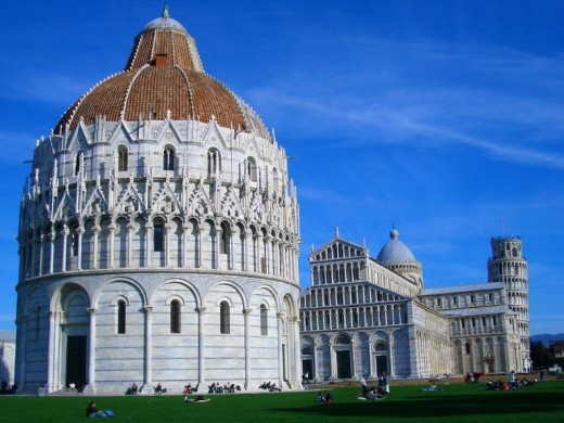 Bapistry and Cathedral of Pisa with the Tower of Pisa In the Background