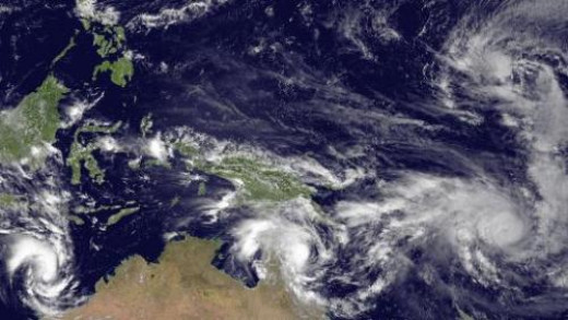 This is a photo of three cyclone, around Australia in early March 2015, the largest and strongest one is called Pam and it is heading for the archipelago of Vanuatu, where it is going to inflict so much damage, as we will know later.