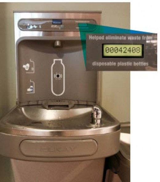 drinking fountain with bottle filler showcasing the number of plastic bottles saved on the digital counter
