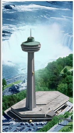 Skylon Towers with Niagara Falls in  background.