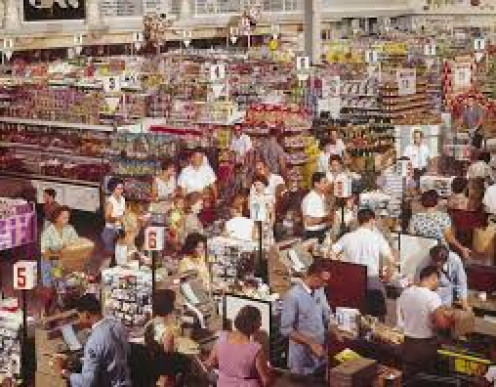 Typical supermarket scene in the 1950s and 60's