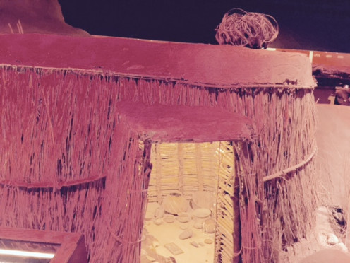 The outside of the  Hohokam Pit House on display at the Herd Museum.