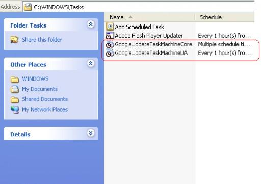 Delete Google update task on Scheduled Task