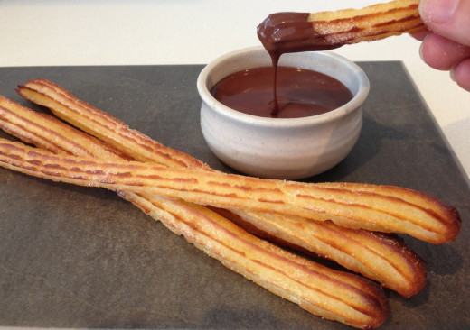 These churros are also good when dipped in melted chocolate