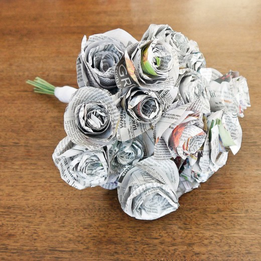 Newspaper Wedding Bouquet Craft