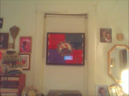 New Queen Of Hearts Scarf, framed.  Cats can' t get this one...