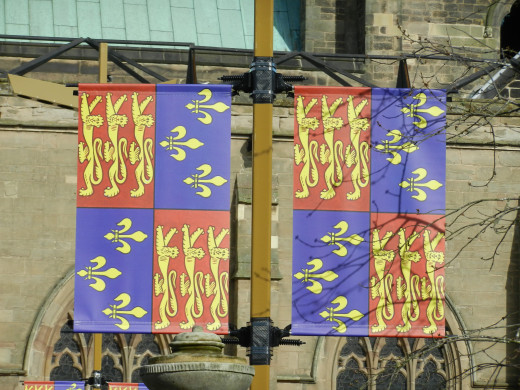 The standard of King Richard III displayed in the grounds of Leicester Cathedral.