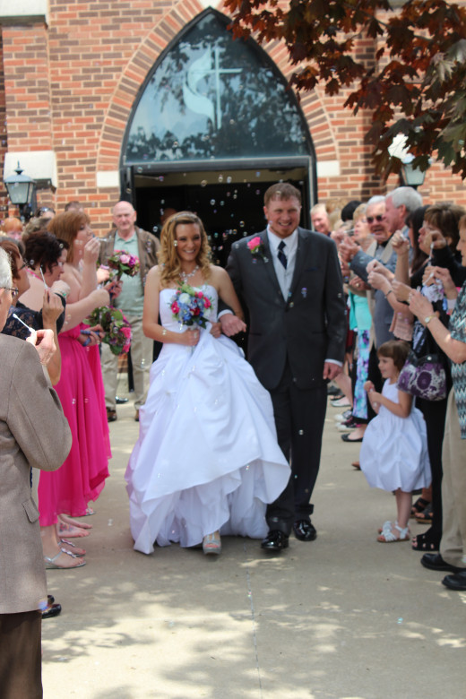 Coming out of the church as Mr. and Mrs.!