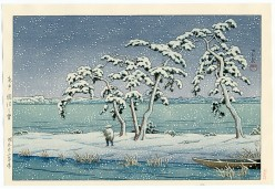 Winter fisherman - Woodblock by Hasui (released after his death).