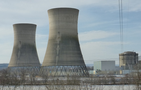 Unit two's cooling towers at Three Mile Island today.