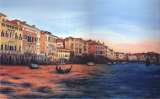 Watercolour of the Grand Canal, Venice at sunset, by Helen Lush