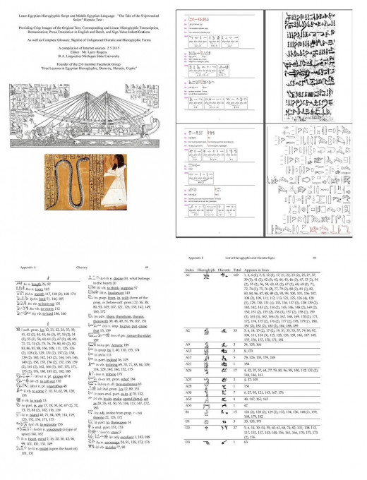 Interlinear Tale Of The Shipwrecked Sailor In Hieratic Egyptian With Hieroglyphic Traneration Ilrations