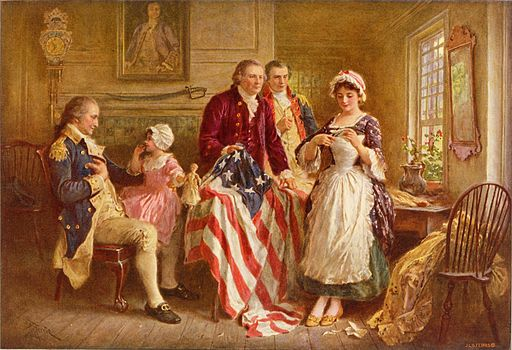 Betsy Ross shown with the first American flag