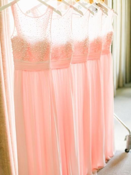 peach pink bridesmaid gowns