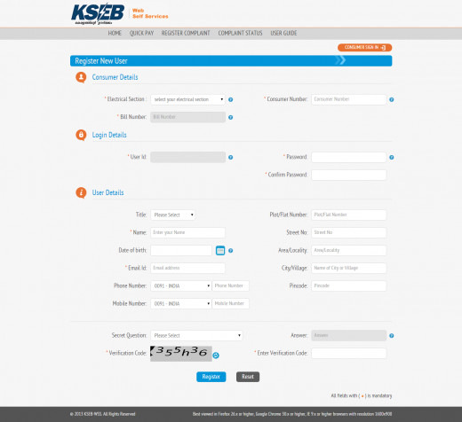 Register New User Screen. Here you need to fill certain fields as listed above. You can skip most of the user details such as address, phone, date of birth, etc.