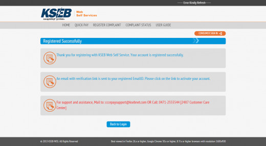 This message indicates the registration is successful.  With this  you are enable to login and make online payment.