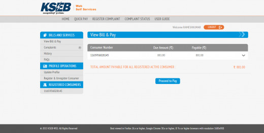 View Bill and Pay by clicking on the Proceed to Pay button.