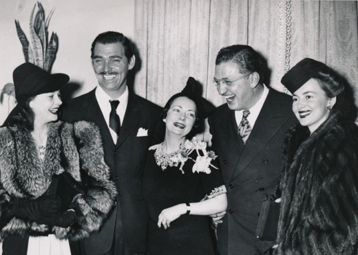 The stars at the premier: from left to right Vivien Leigh, Clark Gable, Margaret Mitchell, David Selznick, Olivia de Havilland