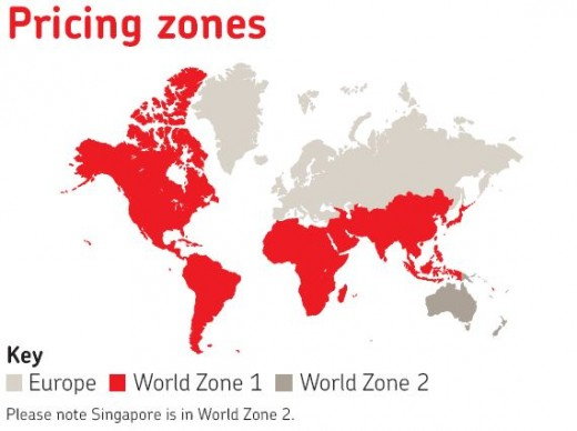 Royal Mail - World map of Postal Zones