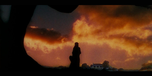 The closing scene. Scarlett O'Hara in silhouette overlooking Tara.