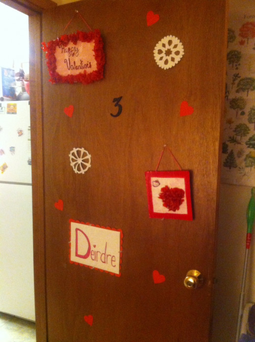 My door decorated for Valentine's.